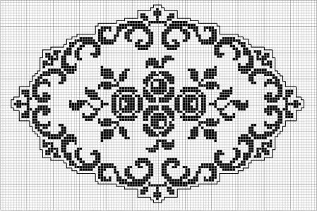 Oval 54 | Free chart for cross-stitch, filet crochet | Chart for pattern - Gráfico