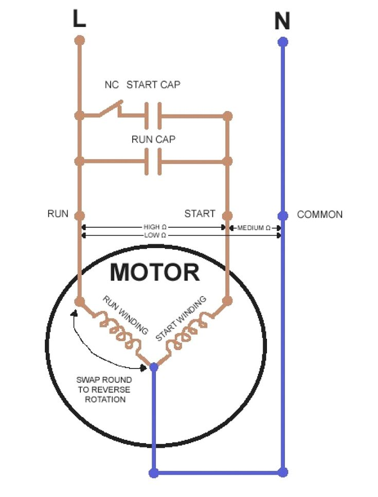 Wiring Diagram Of Single Phase Motor With Capacitor Inside Starting