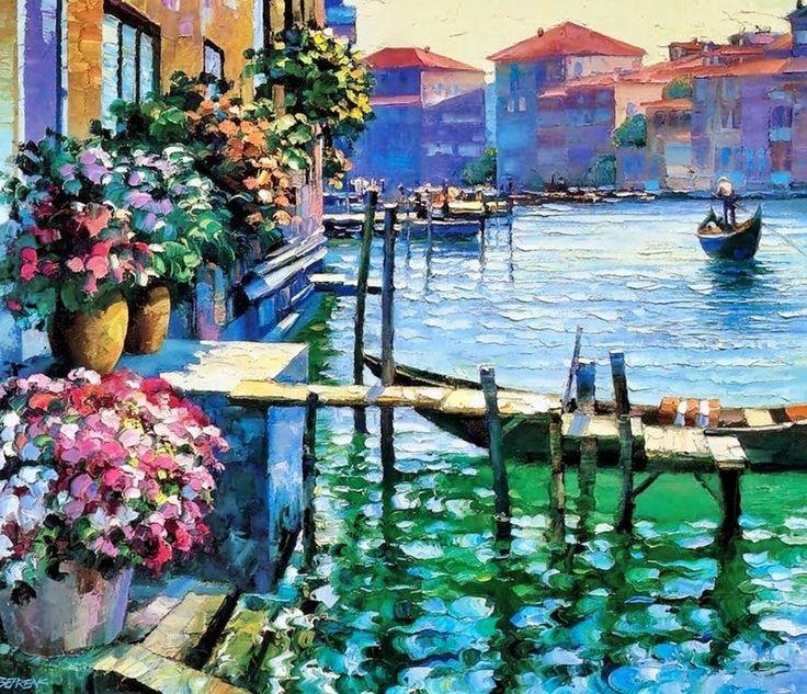 Pintura y Fotografía Artística : Pintura Impresionista de Pasiajes Costeros Pintado con espatula
