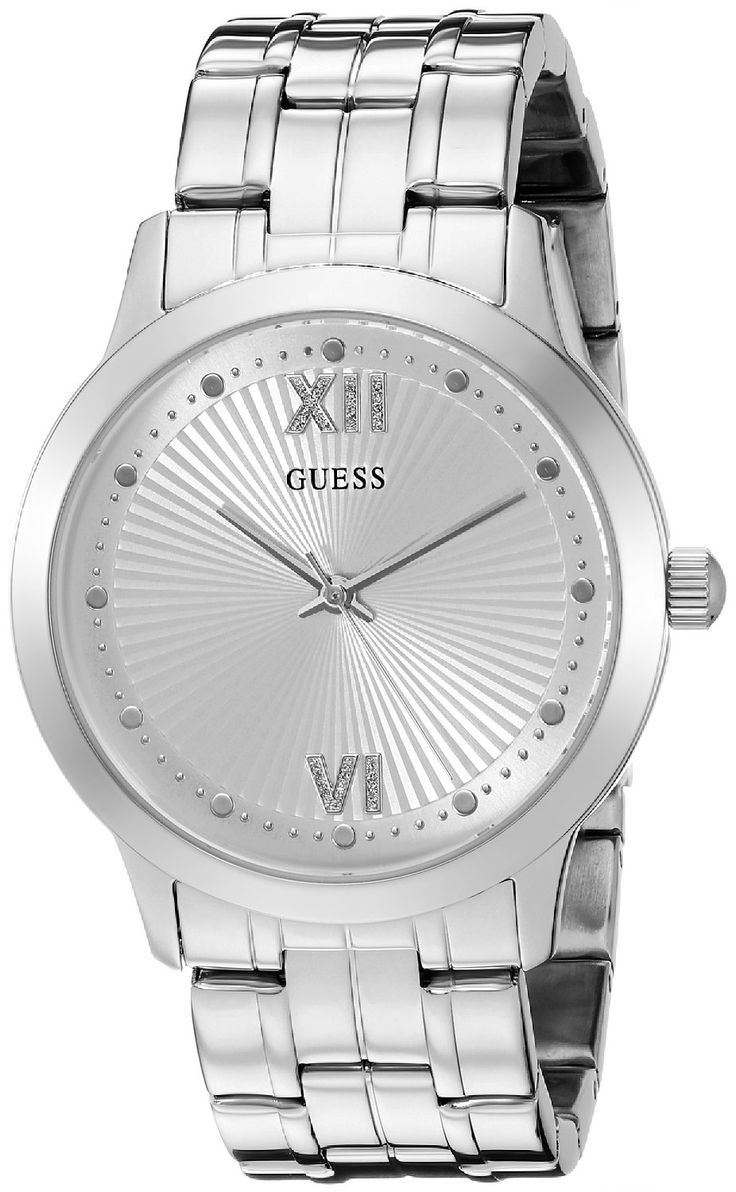GUESS Women's U0634L1 Vintage Inspired Silver-Tone Watch -- For more information, visit image link.