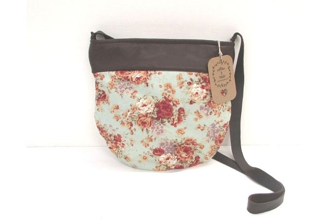 vintage pattern cotton and leather handbag by Willow and Muse Bags