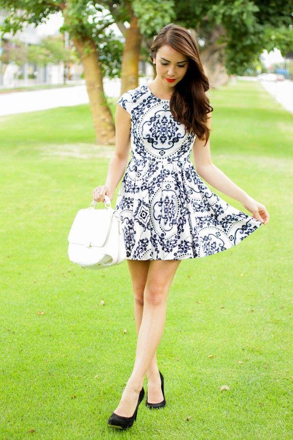 Fitted White Dress - Print Dress - Skater Dress - I'm so loving it!