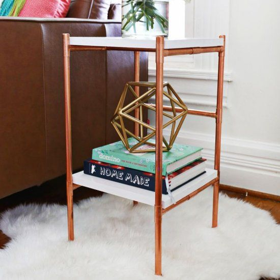 This copper pipe side table is a fun weekend project idea and perfect for displaying plants!