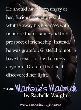 Book quote from Marlowe's Maverick, Book 2 in the Bad Boys of Hockey romance trilogy, by Rachelle Vaughn