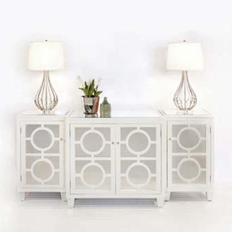 Worlds away 3 piece mirrored buffet white lacquer for White modern buffet table