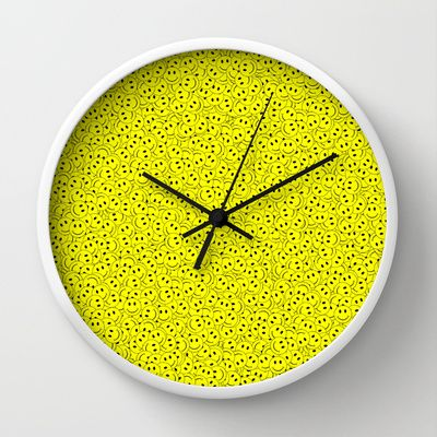 Smiley Wall Clock by Vanya Vasileva - $30.00 http://society6.com/vanyavasileva/