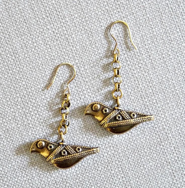 Kalevala Koru Bird of Hattula Bronze Earrings, Made in Finland. $65.00, via Etsy.