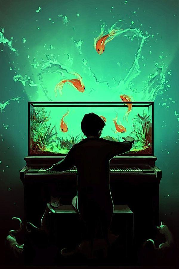 sick digital art with a hint of Chiaroscuro & dancing fish.