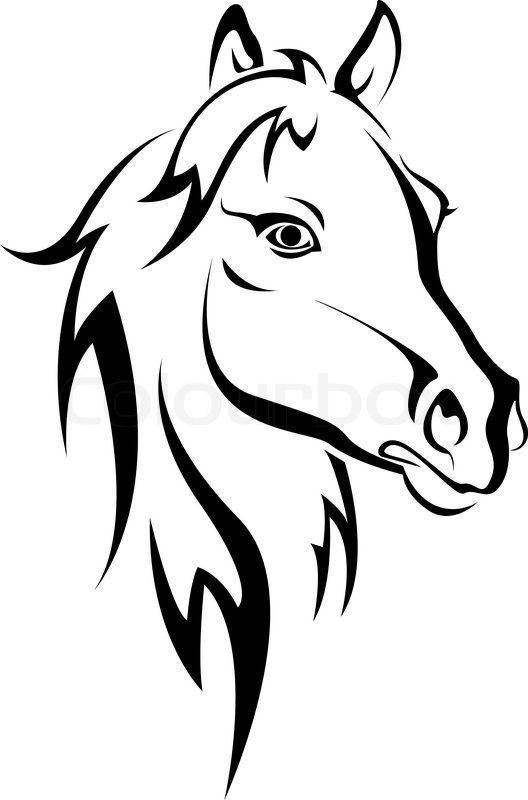 Stock-Vektor von 'Schwarzes Pferd Silhouette auf weißem für Design isoliert'