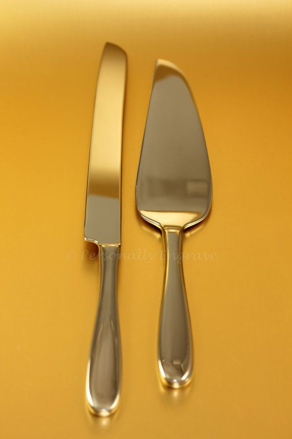 Engraved Wedding Cake Knife and Server Set Personalized to your individual taste in Stainless Steel on Etsy, $39.95