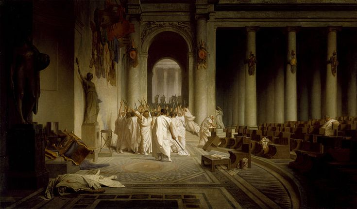 March 15, 44 BC: Death of Julius Caesar. Fearing that Caesar was becoming too powerful, a conspiracy of Roman senators formed a plan to kill him. He was attacked by a group of 60 or so men, and stabbed 23 times. According to the autopsy report -- the first known in history -- his death was mostly caused by blood loss.