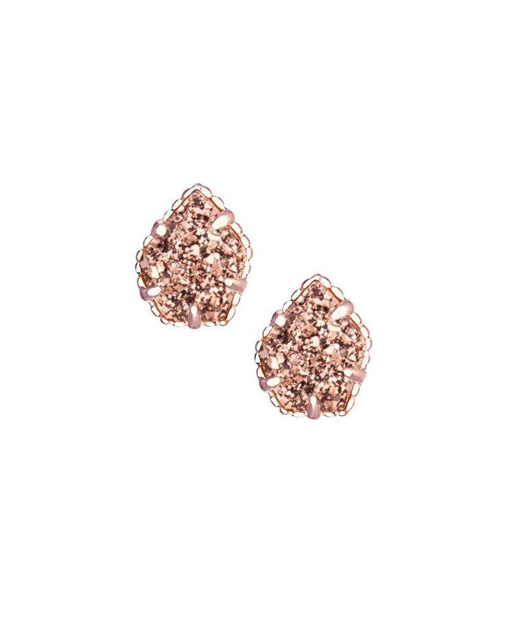 Tessa Stud Earrings in Rose Gold Drusy - Kendra Scott Jewelry