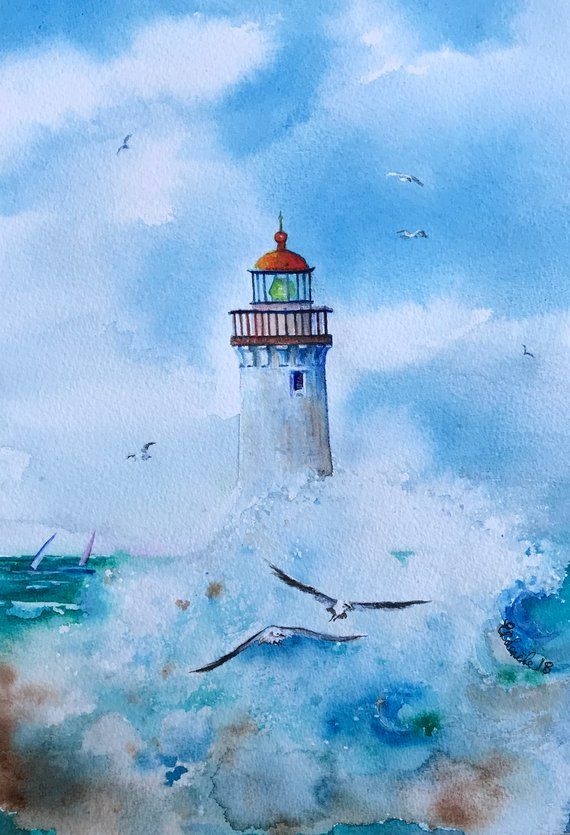 Lighthouse Art Sea Painting Original Watercolor Ocean Art Seascape