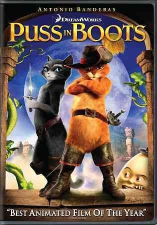 Puss in Boots [PN1997 .P877 2012] The events leading up to the sword fighting cat's meeting with Shrek and his friends.   Director:Chris Miller Writers:Charles Perrault (character), Tom Wheeler (screenplay), Stars:Antonio Banderas, Salma Hayek, Zach Galifianakis