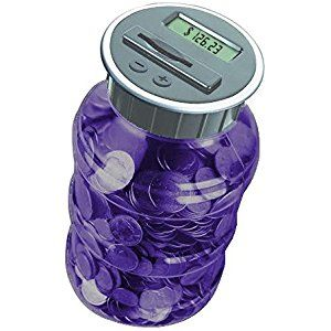 Digital Coin Bank Savings Jar - Automatic Coin Counter Totals all U.S. Coins including Dollars and Half Dollars - Transparent Purple