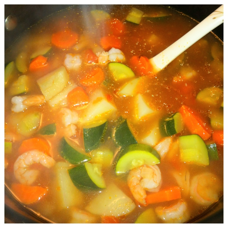 Caldo de camaron (shrimp stew)  You eat it with crackers, lime juice & tapatio hot sauce; Mmm..❤ It!!!