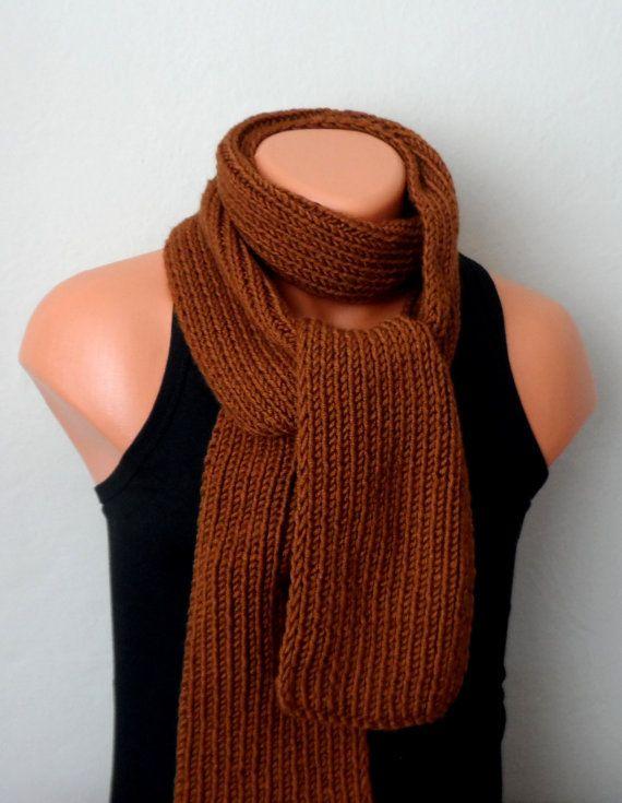 brown men knit scarf brown winter scarf chunky men scarf