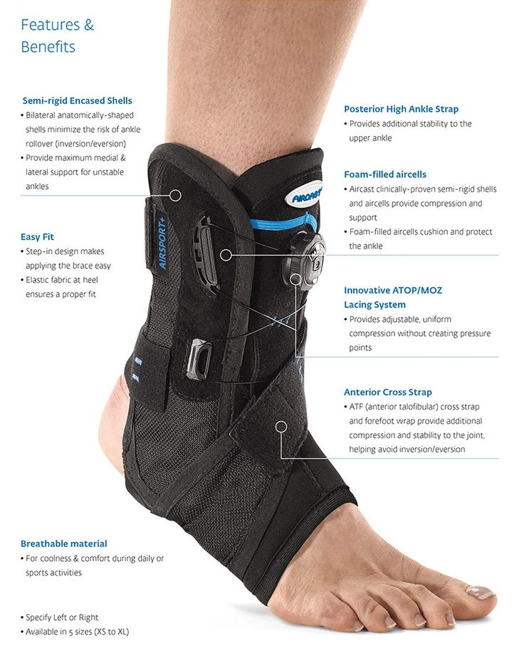 AIRCAST AIRSPORT PLUS ANKLE BRACE - Designed to help injured or weakened ankles regain their full potential, Easy to apply. Ideal for ankle sprains & ligament tears, chronic ankle instability and post-op rehab use. Great for active individuals.