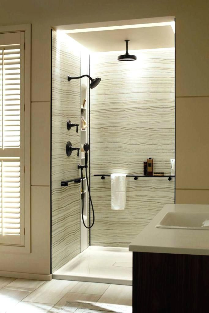 acrylic panels for bathroom walls%0A Updated shower and vanity room  Onyx shower base  tile from World of Tile   Delta fixtures  Custom glass doors by Evergreen Glass  Contractor Rusch  u