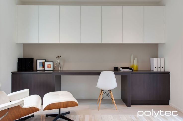 polytec - MELAMINE doors in Shannon Oak Matt and Classic White Matt. LAMINATE desk top in Shannon Oak Matt.