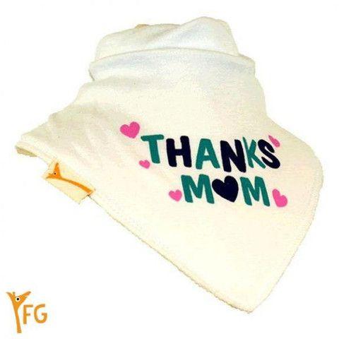 Baby Bandana Bib - White & Pink Thanks Mum – Baby Luno