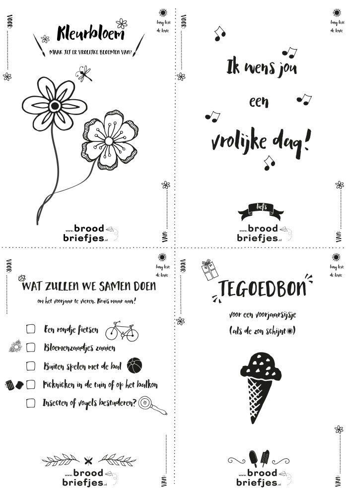 Ook zo toe aan het voorjaar? Misschien helpen onze voorjaarsbriefjes! Print ze snel vanaf broodbriefjes.nl