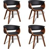 Moderne eetkamerset bestaande uit vier stoelen (kunstleer en hout)