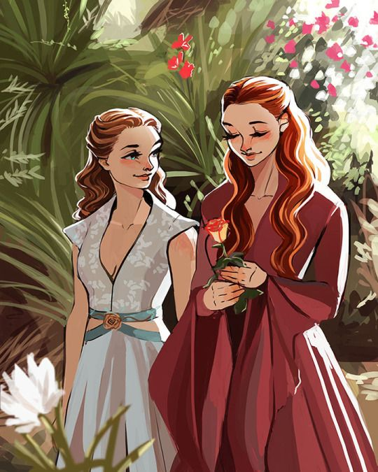Margaery and Sansa walk in the garden - Game of Thrones