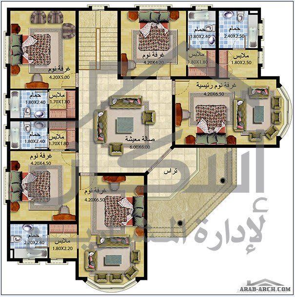 خريطة فيلا طابقين مساحه 490 متر مربع اسكان لادارة المشاريع Square House Plans My House Plans Beautiful House Plans