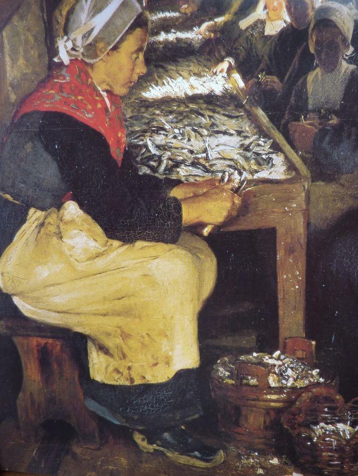 "Table Peder Kroyer 1879 entitled ""sardine in Concarneau"". coiffe d'artisane, dite   Penn Sardin"