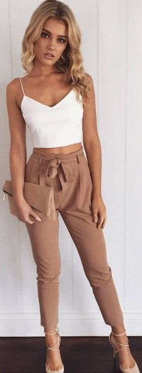 #summer #muraboutique #outfitideas |  White Crop + Camel Pants
