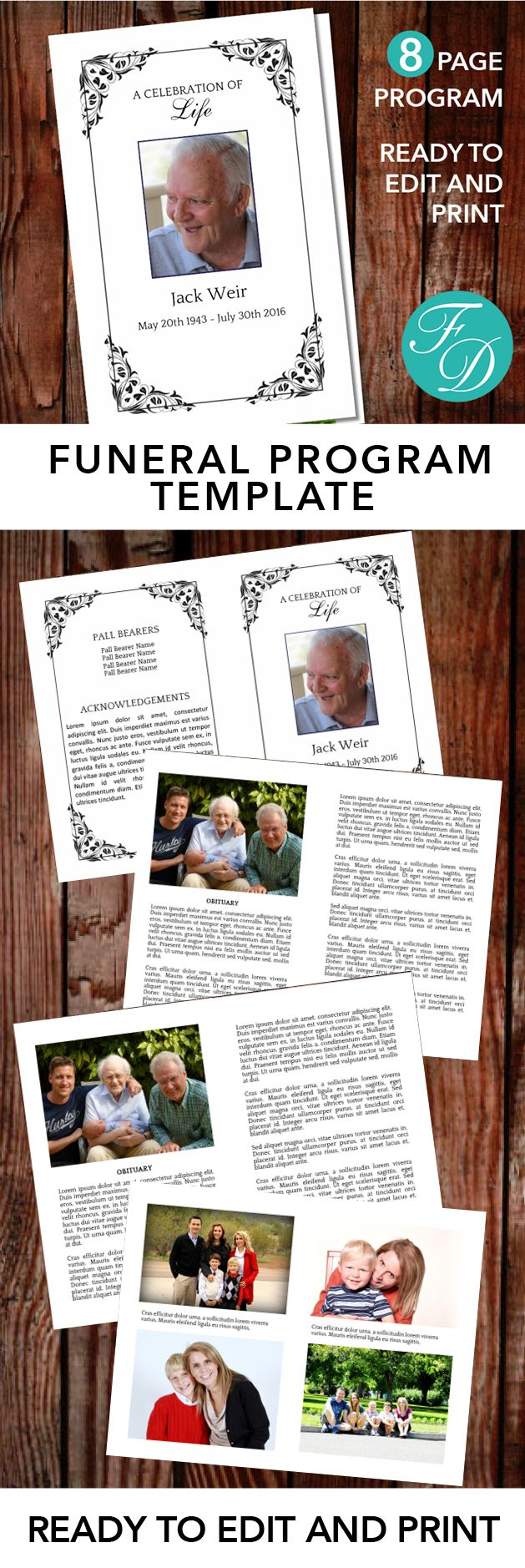 Black Printable Funeral program ready to edit & print. Simply purchase your funeral templates, download, edit with Microsoft Word and print. #obituarytemplate #memorialprogram #funeralprograms #funeraltemplate #printableprogram #celebrationoflife #funeralprogamtemplates