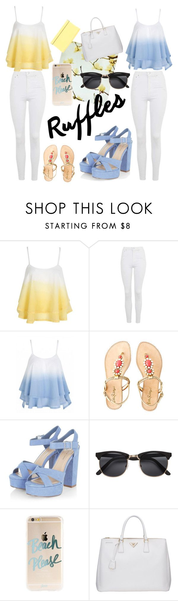 """Ruffles"" by bellaslife23 on Polyvore featuring WithChic, Topshop, Lilly Pulitzer, Prada, Jimmy Choo and ruffles"