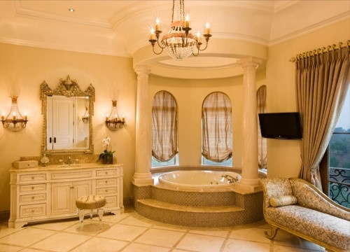 tub with columns: Modern Bathroom Design, Mediterranean Bathroom, Bubbles Bath, Master Bath, Bathroom Interiors Design, Tuscan Styles, Dream Bathroom, Design Bathroom, Bath Design