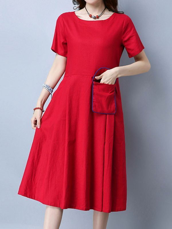 Vintage Dresses Colorado Springs Folk Style Embroidery Pocket Short