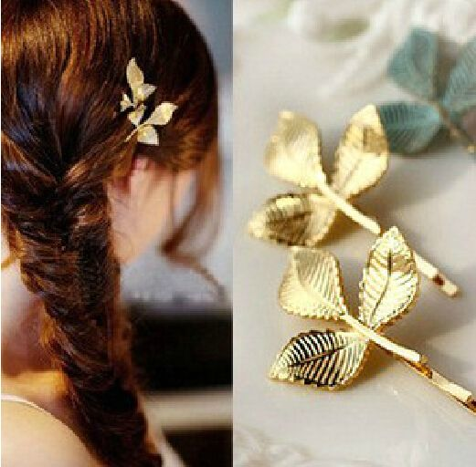 t8 2016 European and American fashion jewelry gold starfish fresh leaves retro stereo small hairpin side clip wholesale