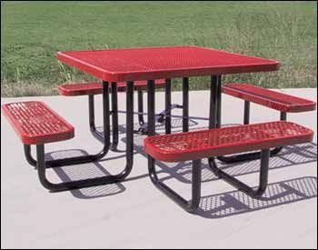 "46"" Square Expanded Metal Picnic Table"