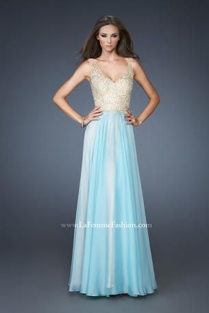 Vintage inspired chiffon gown with an intricately beaded lace bodice and illusion straps. Skirt is lightly gathered at the natural waist and has nude lining to give this gorgeous dress an elegant feel. Back zipper closure. http://www.reflectionsbridalandprom.com/detail.php?ProdId=6340702&CatId=17646&resPos=128#subtitle $478.00