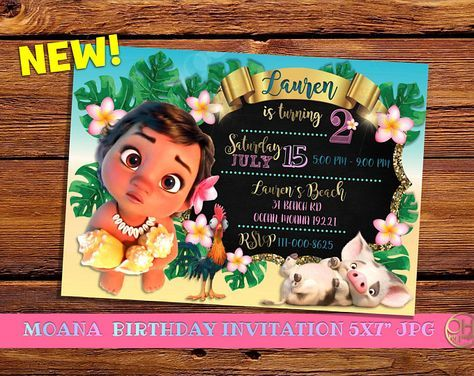 Moana Invitation Birthday Baby Birthdaymoana Invitationsmoana Party Invitationmoanamoana