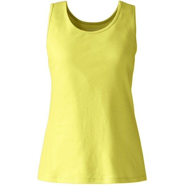 Lands' End Women's Petite Cotton Tank Top (21 CAD) ❤ liked on Polyvore featuring tops, yellow, yellow tank top, petite cotton tops, cotton tank, lands end tank tops and strappy top