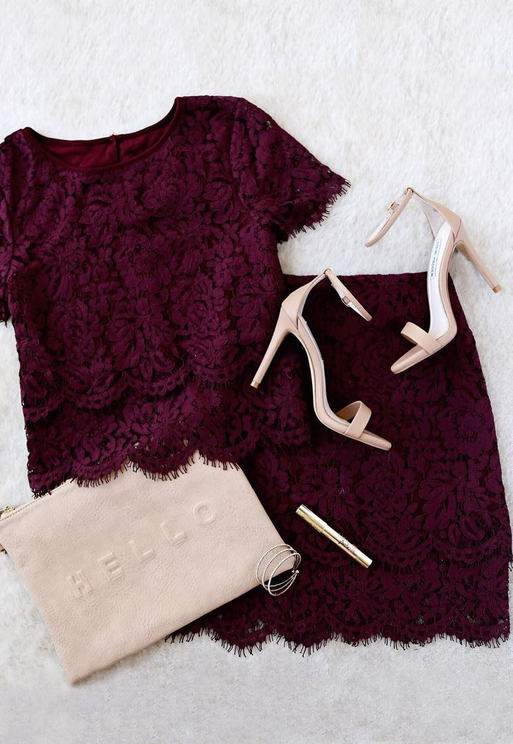 clothes online You  39 ll fondly reminisce on all the good times you  39 ve had  and will have   in the Turn Back Time Burgundy Lace Two Piece Dress  Burgundy eyelash lace overlay shapes a cute crop top with a round neckline and short sleeves  A second layer of lace drops below the scalloped hem to create a sheer  tiered look  Matching skirt finishes off the set with its figure accentuating fit and tiered mini length hem   lovelulus