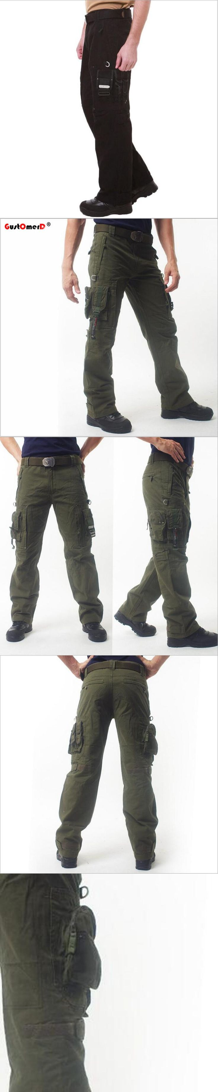 GustOmerD New Men Tactical Cargo Pants Men Cotton Army Military Pants Multi-pocket Paintball Militar Casual Trousers