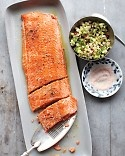 Salmon with Cucumber-Radish Relish: 1 side of salmon ( 2 1/2 pounds skinned) 1 tbsp extra-virgin olive oil Coarse salt and freshly ground pepper 1/4 cup diced radish 1/2 cup diced, peeled English cucumber 1 tbsp prepared horseradish 3 tbsp thinly sliced scallions (2)