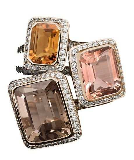 Lorenz Bäumer Pink Tourmaline, Smoky Quartz, Citrine & Diamond Rings