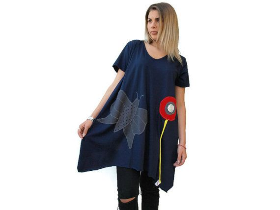Dark blue loose open back tunic / Organic Cotton by PepperFashion