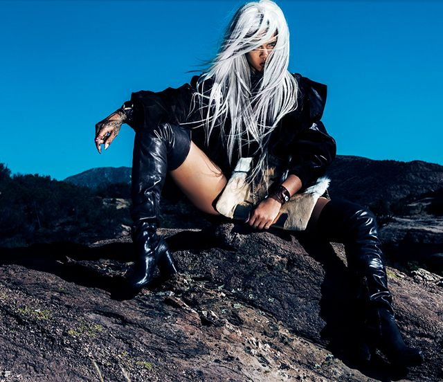 Rihanan for Tush Magazine with grey hair and over the knee boots