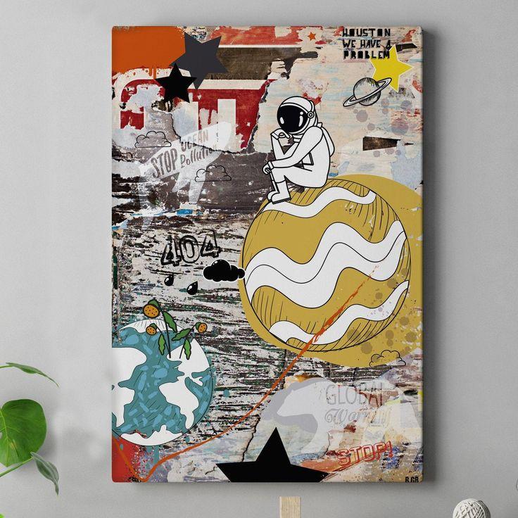 90X60cm – Canvas print – Street art graffiti painting Cosmonaute  – Affiches Illustrations Décoration Intérieur