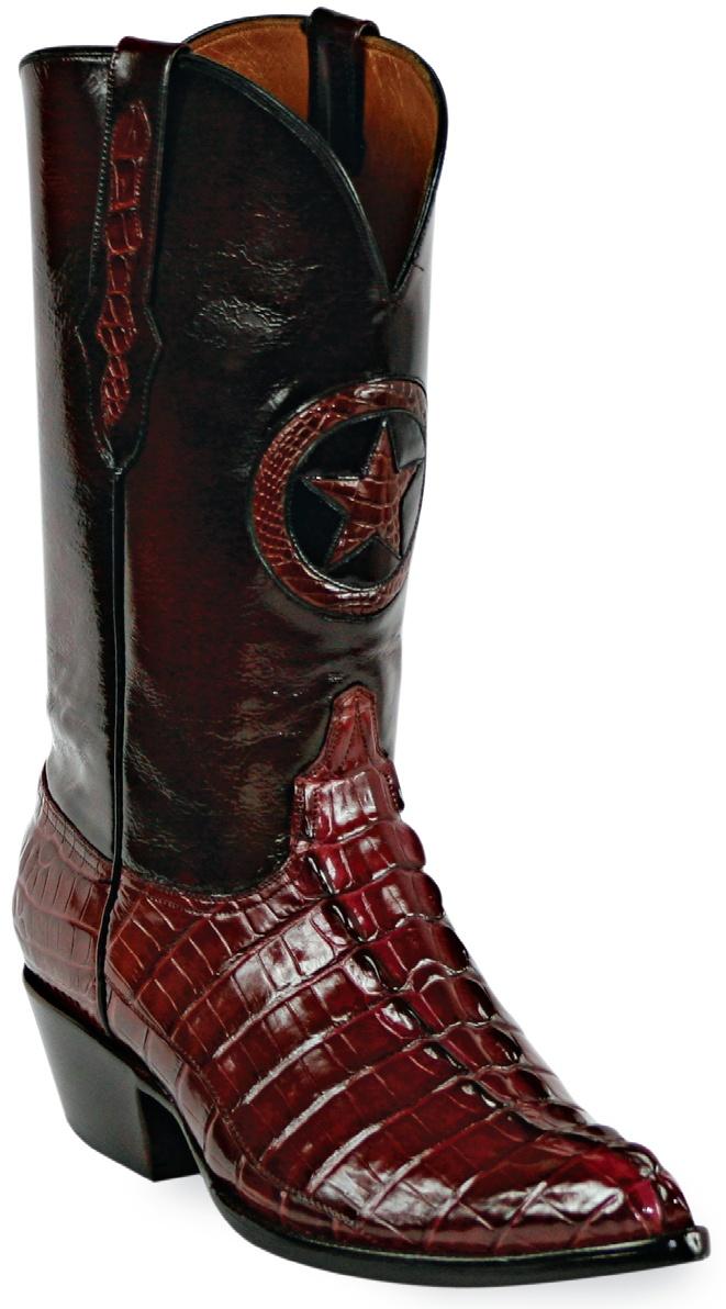 Mens Black Jack Boots Burgundy Alligator Tail Custom Boots