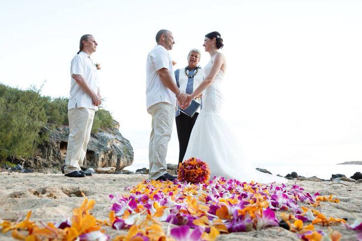 Hawaiian beach ceremony - Shipwrecks Beach Kauai  Tommy Bahama Maggie Sottero Haven
