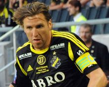 """Nils-Eric """"Nisse"""" Johansson (born 13 January 1980 in Stockholm) is a Swedish football player who currently plays as left back for AIK."""